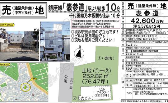东京港区表参道土地付独栋楼2598万人民币