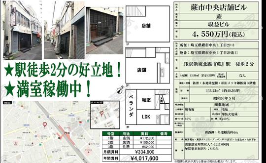 埼玉县蕨市商住整栋267万人民币