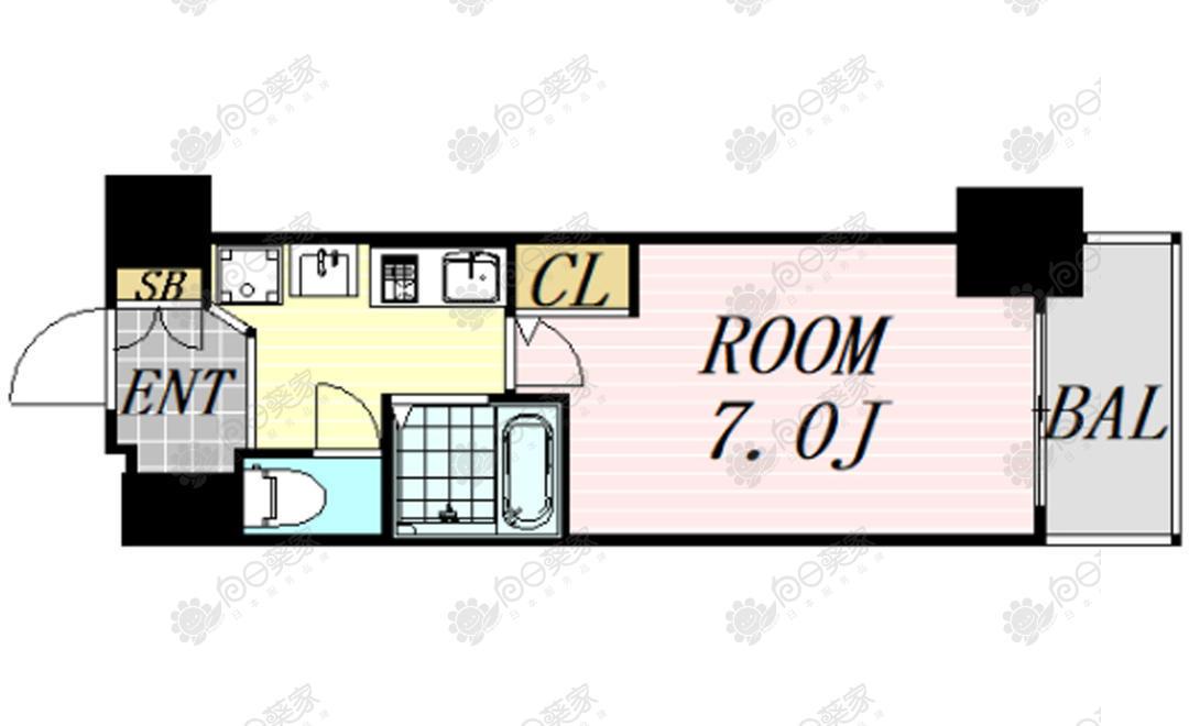 日本大阪市北区南森町1居室公寓