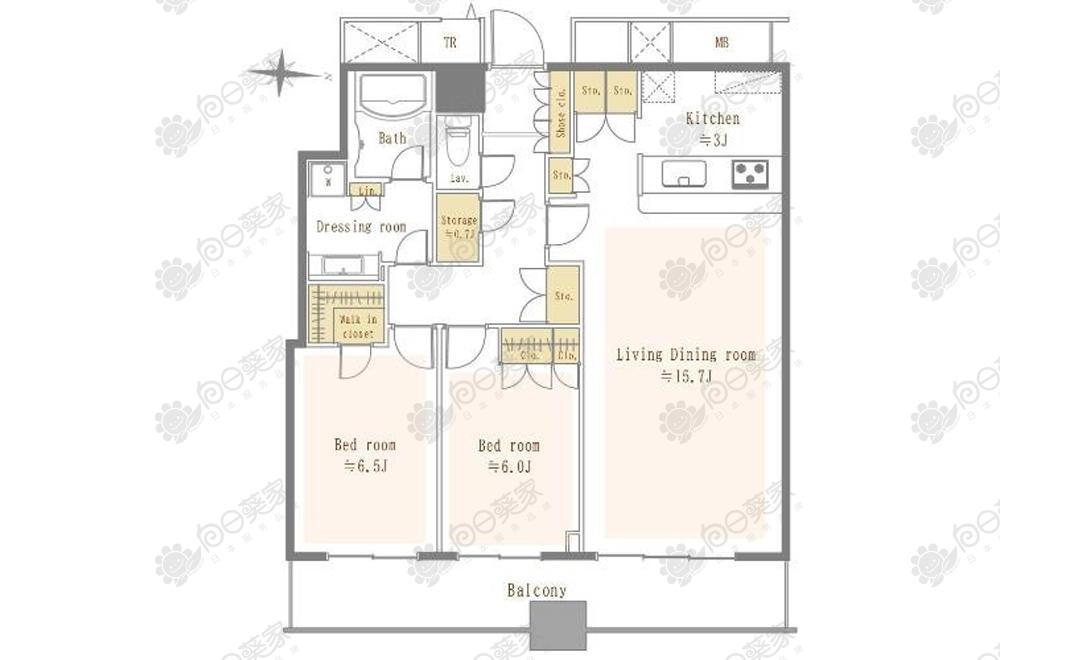 日本千叶市中央区高级塔楼2居室公寓
