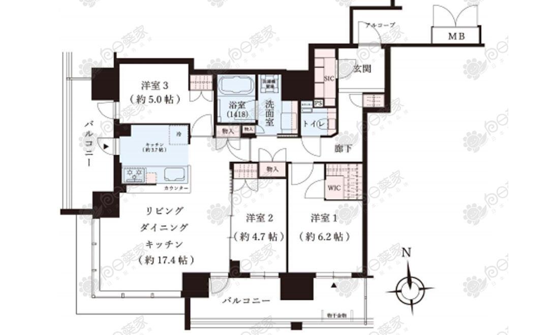 日本大阪市北区大阪天满宫3居室公寓(14层)