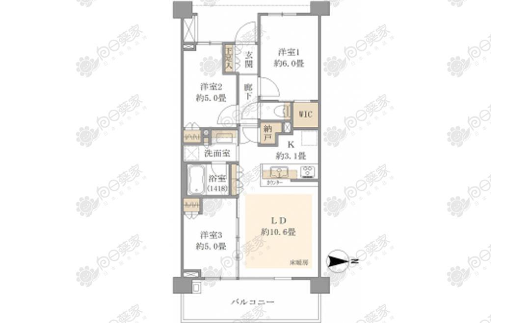 日本埼玉县川口市蕨3居室高级公寓